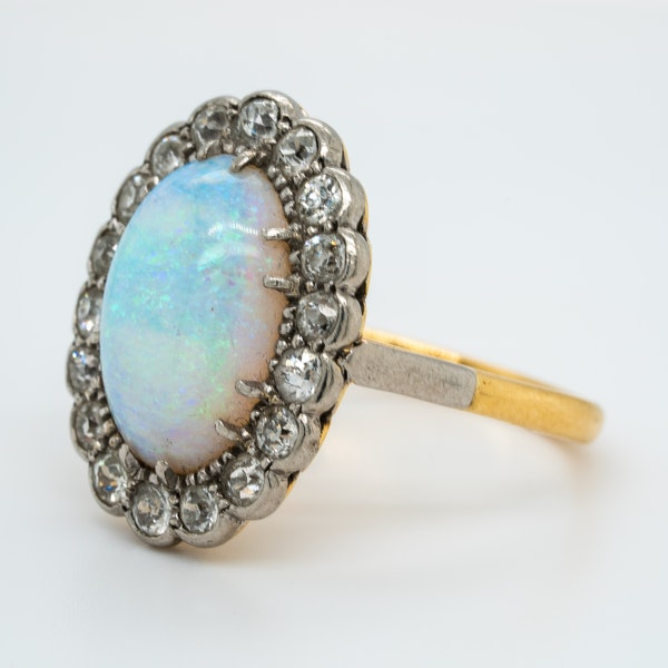 Victorian large opal and diamond oval cluster ring - image 3
