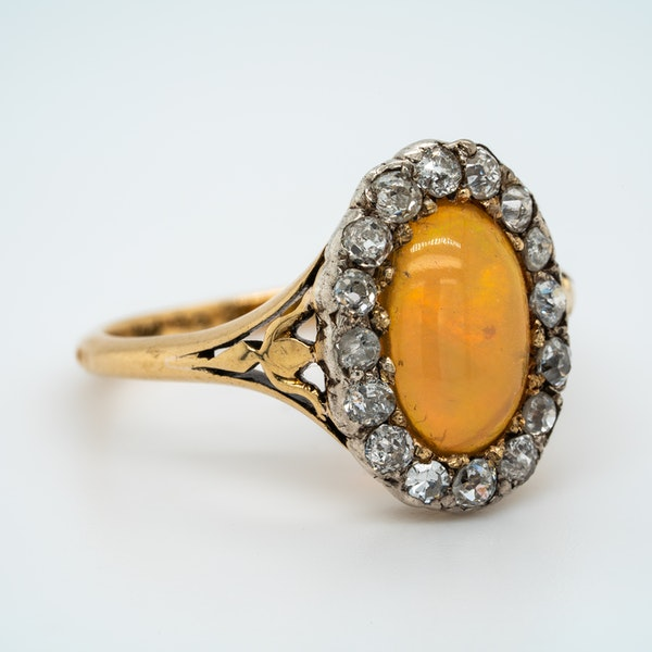 Edwardian opal and diamond oval cluster ring - image 2