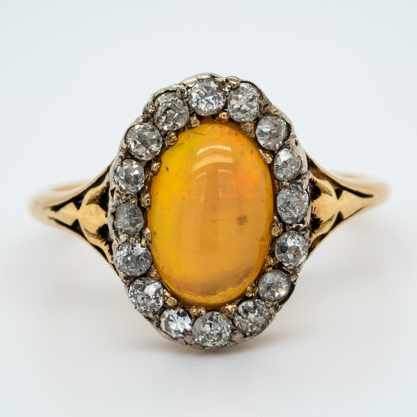 Edwardian opal and diamond oval cluster ring - image 1