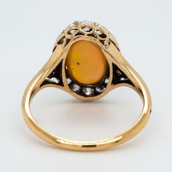 Edwardian opal and diamond oval cluster ring - image 4