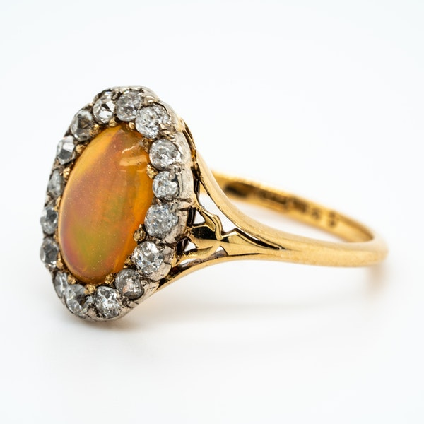Edwardian opal and diamond oval cluster ring - image 3