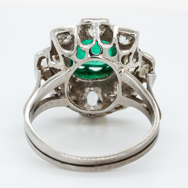 Emerald cabochon and diamond cluster ring - image 4
