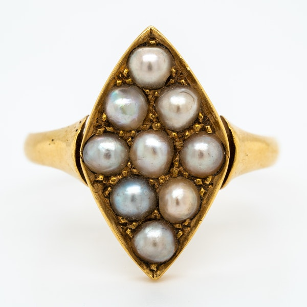 Victorian possible natural pearls lozenge shape cluster ring - image 1