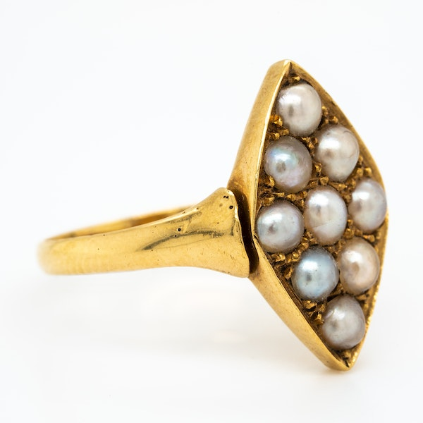 Victorian possible natural pearls lozenge shape cluster ring - image 2