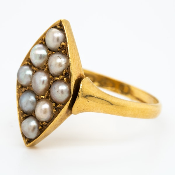 Victorian possible natural pearls lozenge shape cluster ring - image 3