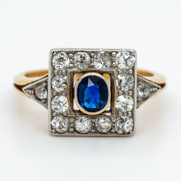 Art Deco diamond and sapphire square shape cluster ring - image 1