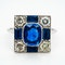 Vintage sapphire and diamond rectangular cluster ring - image 1