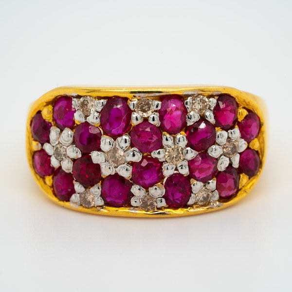 Edwardian ruby and diamond oval cluster ring - image 1