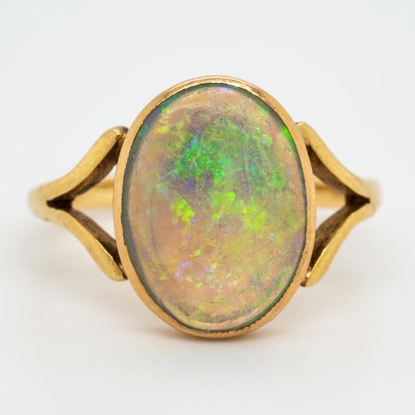 Single black opal antique  Victorian ring - image 1