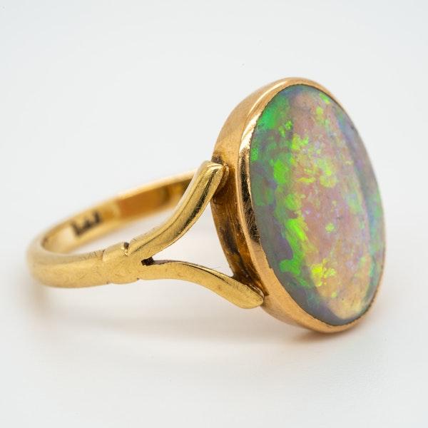 Single black opal antique  Victorian ring - image 2