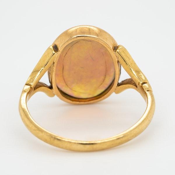 Single black opal antique  Victorian ring - image 4
