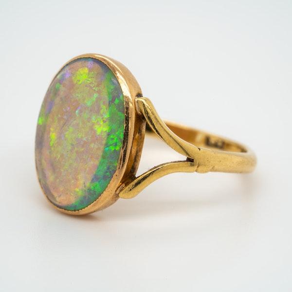 Single black opal antique  Victorian ring - image 3