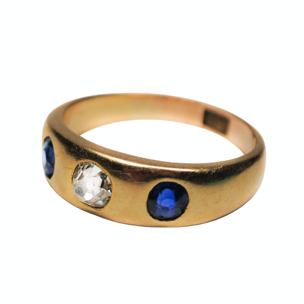 A Sapphire and Diamond Gypsy Ring - image 2