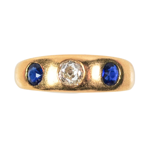 A Sapphire and Diamond Gypsy Ring - image 1