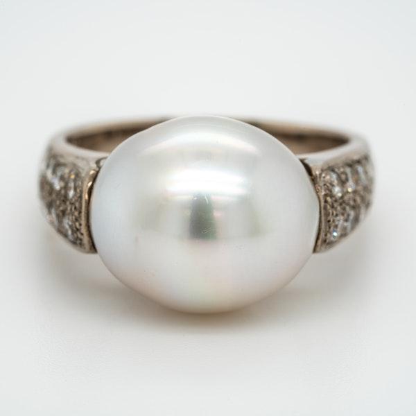Art Deco large single pearl and diamonds ring - image 1