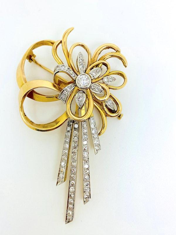18K yellow gold Diamond Brooch - image 3