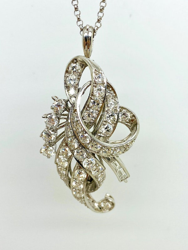 1920-s Platinum 3.50ct Diamond Pendant/Brooch. - image 2