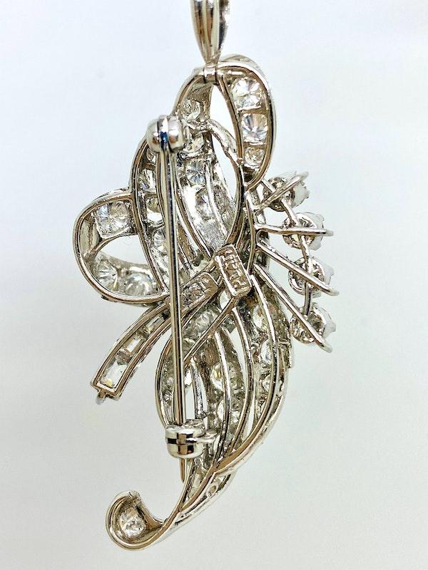 1920-s Platinum 3.50ct Diamond Pendant/Brooch. - image 3
