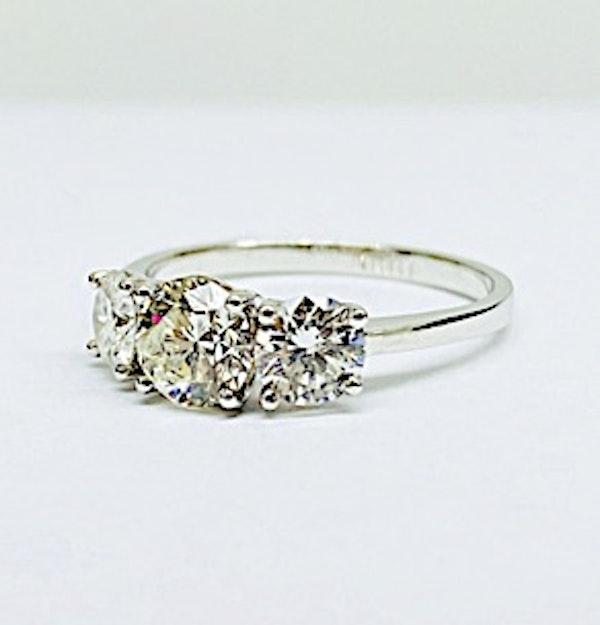 18K white gold, 3-stone 1.56ct Diamond Ring - image 3
