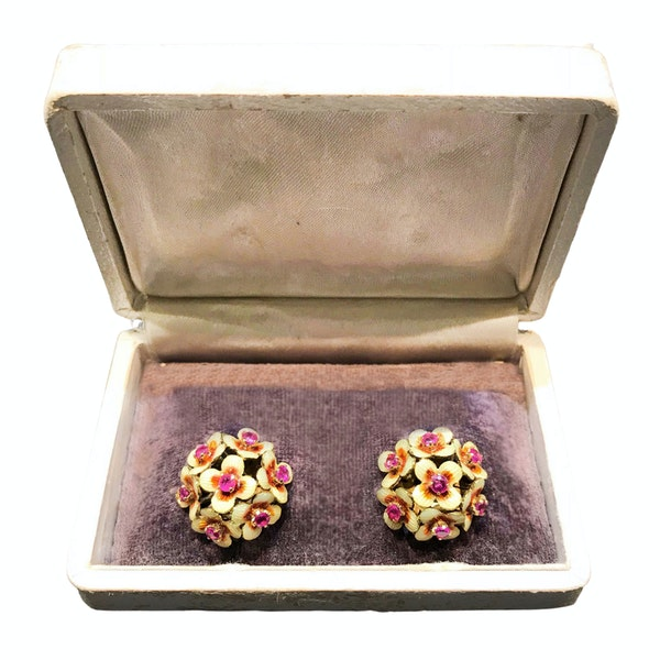 A pair of 1950s Gold Ruby and Enamel Clip On Earrings - image 2
