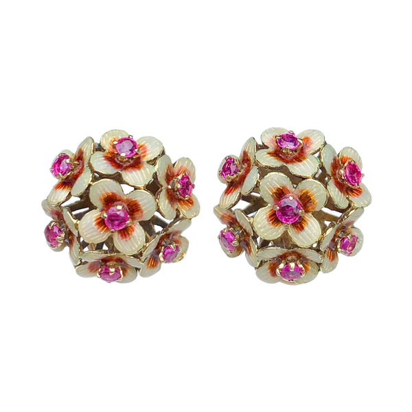 A pair of 1950s Gold Ruby and Enamel Clip On Earrings - image 3