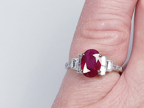 Ruby and Baguette Diamond Ring  DBGEMS - image 4