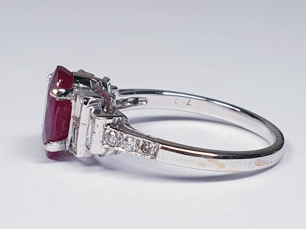 Ruby and Baguette Diamond Ring  DBGEMS - image 2