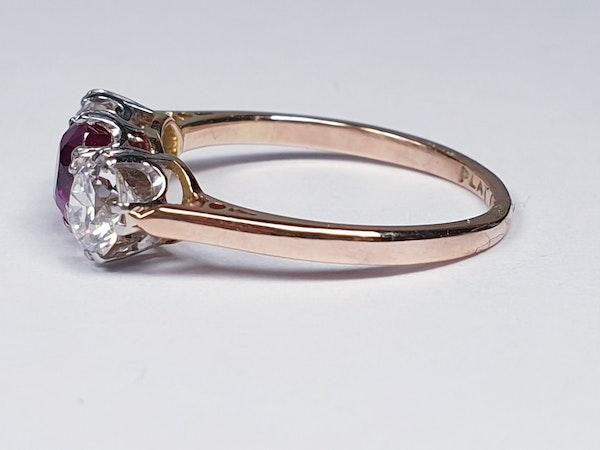 19th century gem quality ruby and diamond three stone engagement ring  DBGEMS - image 2
