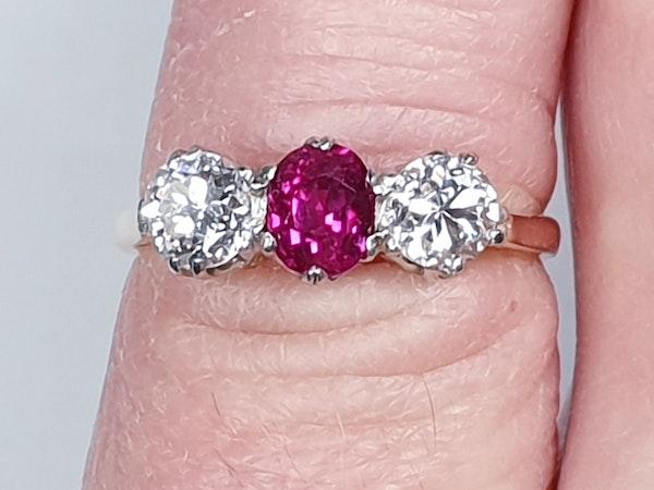 19th century gem quality ruby and diamond three stone engagement ring  DBGEMS - image 4