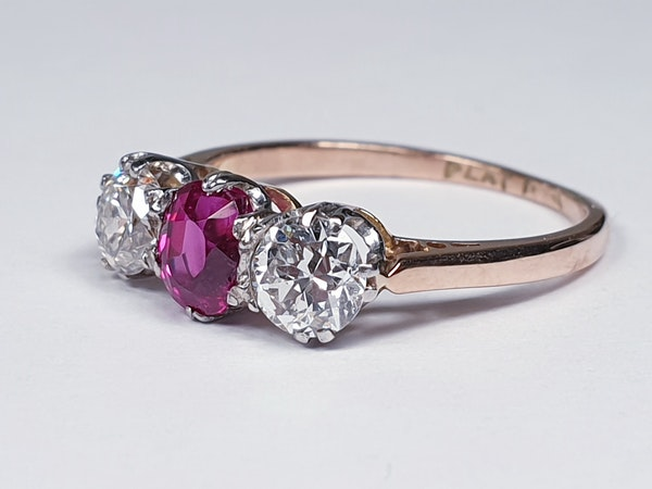 19th century gem quality ruby and diamond three stone engagement ring  DBGEMS - image 1