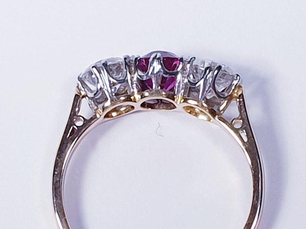 19th century gem quality ruby and diamond three stone engagement ring  DBGEMS - image 3
