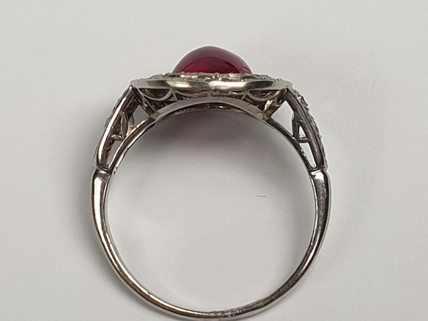 Natural cabochon ruby and diamond art deco target engagement ring  DBGEMS - image 3