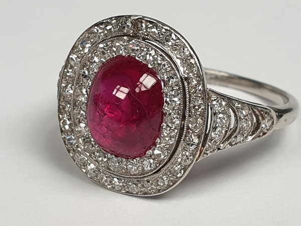 Natural cabochon ruby and diamond art deco target engagement ring  DBGEMS - image 4