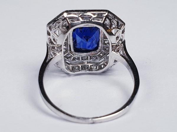 Natural Burmese 2ct sapphire art deco diamond ring  DBGEMS - image 2