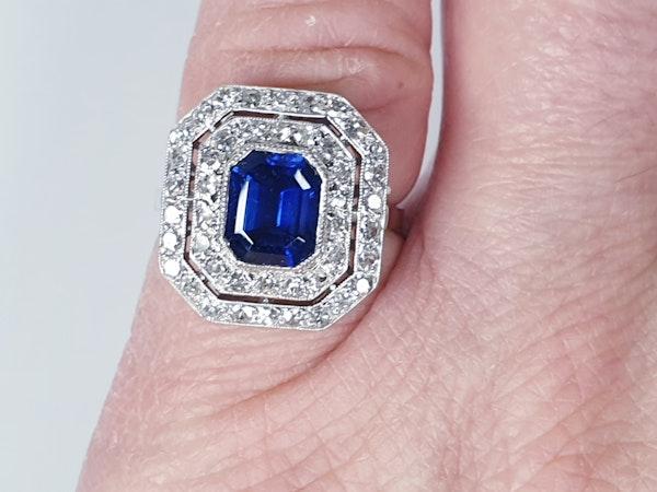 Natural Burmese 2ct sapphire art deco diamond ring  DBGEMS - image 3