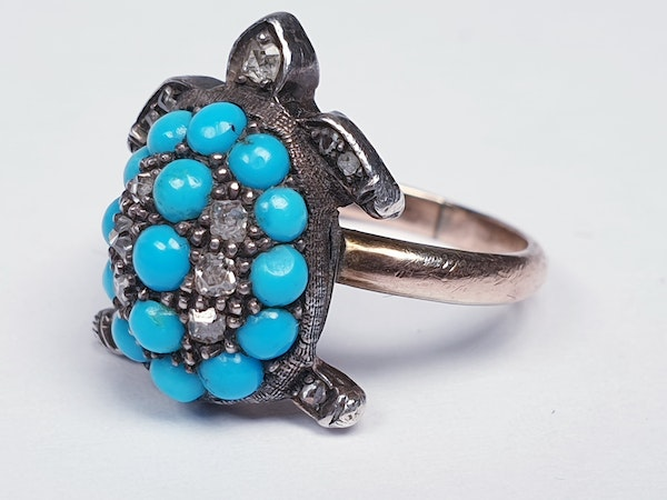 Antique turquoise and diamond turtle ring  DBGEMS - image 2