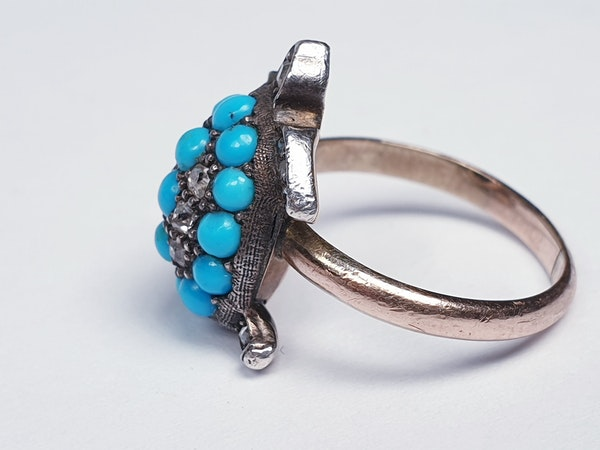 Antique turquoise and diamond turtle ring  DBGEMS - image 3