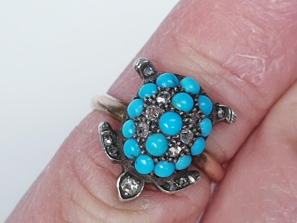 Antique turquoise and diamond turtle ring  DBGEMS - image 1
