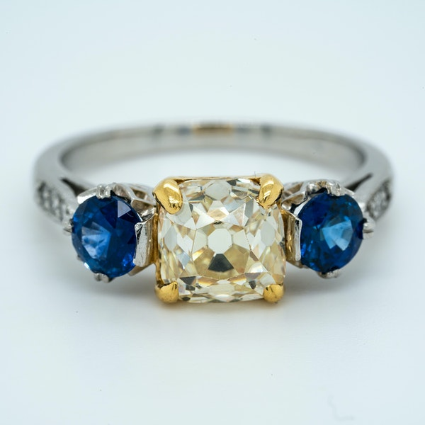 Platinum 2.05ct Fancy Yellow Diamond and 1.40ct Natural Blue Sapphire Engagement Ring - image 1