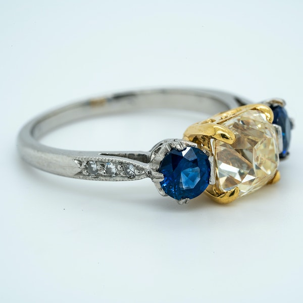 Platinum 2.05ct Fancy Yellow Diamond and 1.40ct Natural Blue Sapphire Engagement Ring - image 2