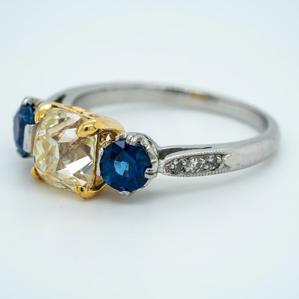Platinum 2.05ct Fancy Yellow Diamond and 1.40ct Natural Blue Sapphire Engagement Ring - image 3