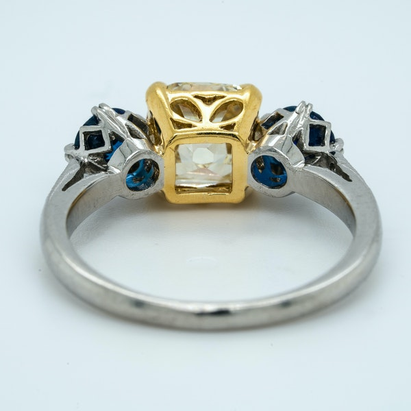 Platinum 2.05ct Fancy Yellow Diamond and 1.40ct Natural Blue Sapphire Engagement Ring - image 4
