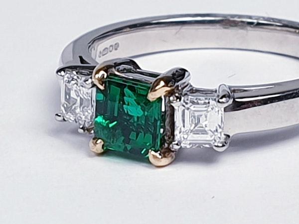 Emerald and diamond engagement ring  DBGEMS - image 5