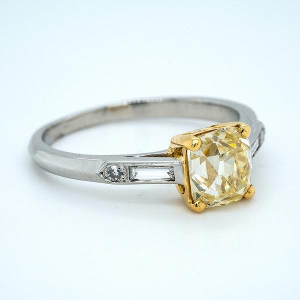 Platinum 1.90ct Natural Fancy Yellow Diamond Engagement Ring - image 1