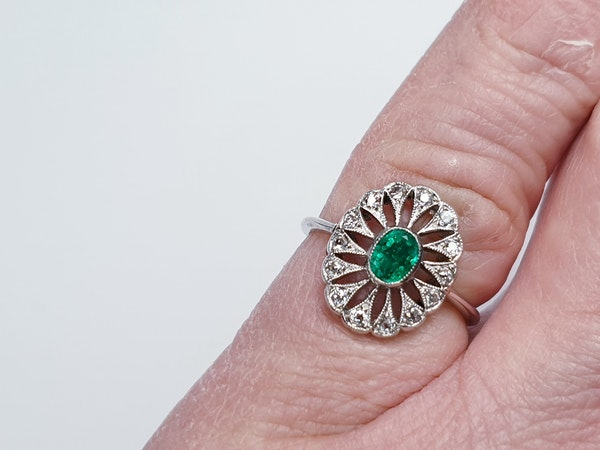 Art Deco Emerald and Diamond Cluster Ring  DBGEMS - image 1