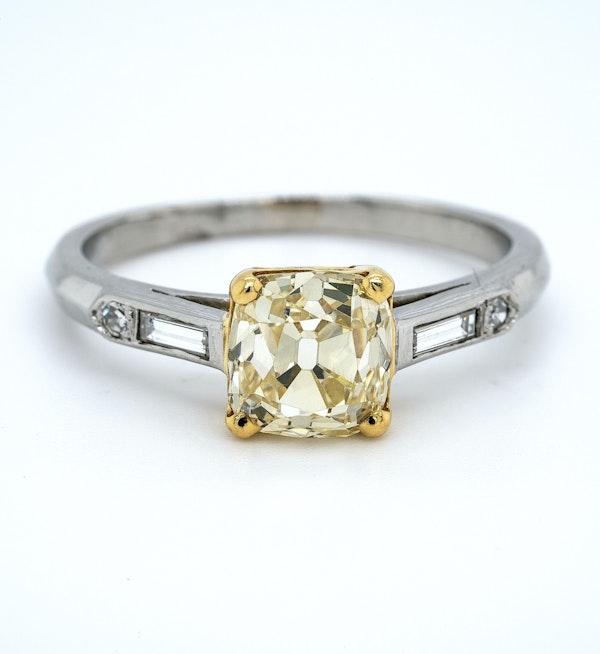 Platinum 1.90ct Natural Fancy Yellow Diamond Engagement Ring - image 5