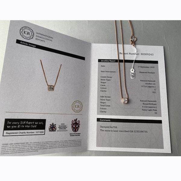 Date:London 2016, 18ct Rose Gold Asscher Cut & Fancy Light Pink Diamond stone set Pendant, SHAPIRO & Co since1979 - image 2