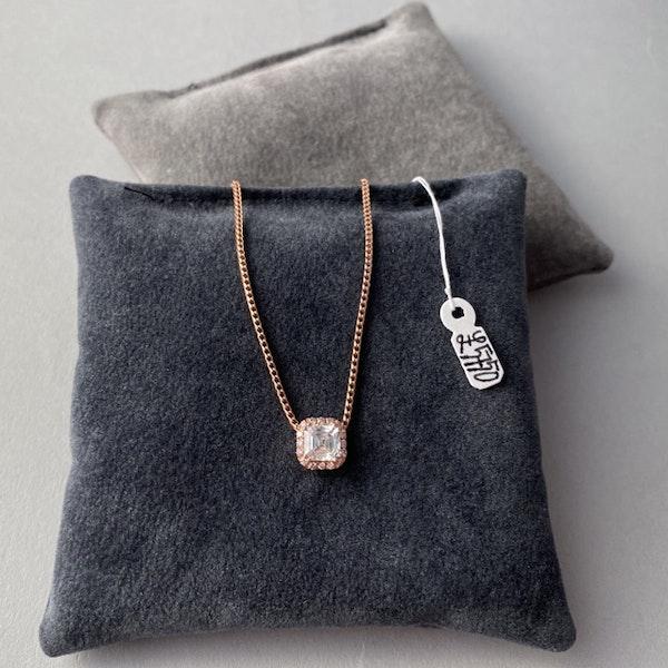 Date:London 2016, 18ct Rose Gold Asscher Cut & Fancy Light Pink Diamond stone set Pendant, SHAPIRO & Co since1979 - image 3