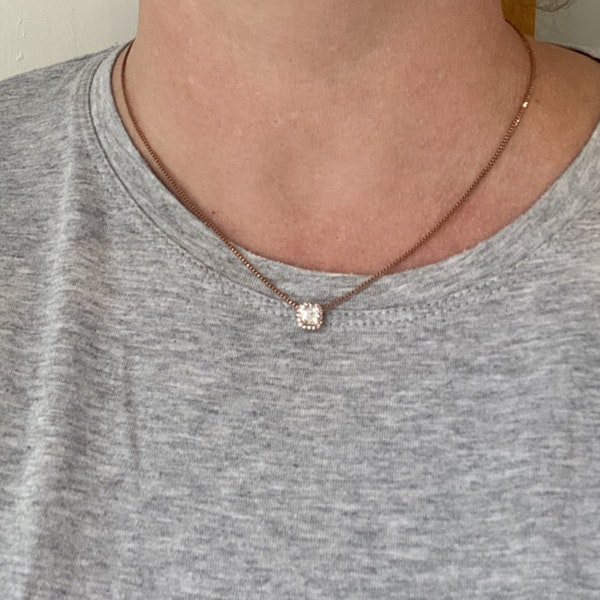Date:London 2016, 18ct Rose Gold Asscher Cut & Fancy Light Pink Diamond stone set Pendant, SHAPIRO & Co since1979 - image 1