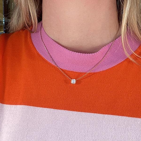 Date:London 2016, 18ct Rose Gold Asscher Cut & Fancy Light Pink Diamond stone set Pendant, SHAPIRO & Co since1979 - image 5